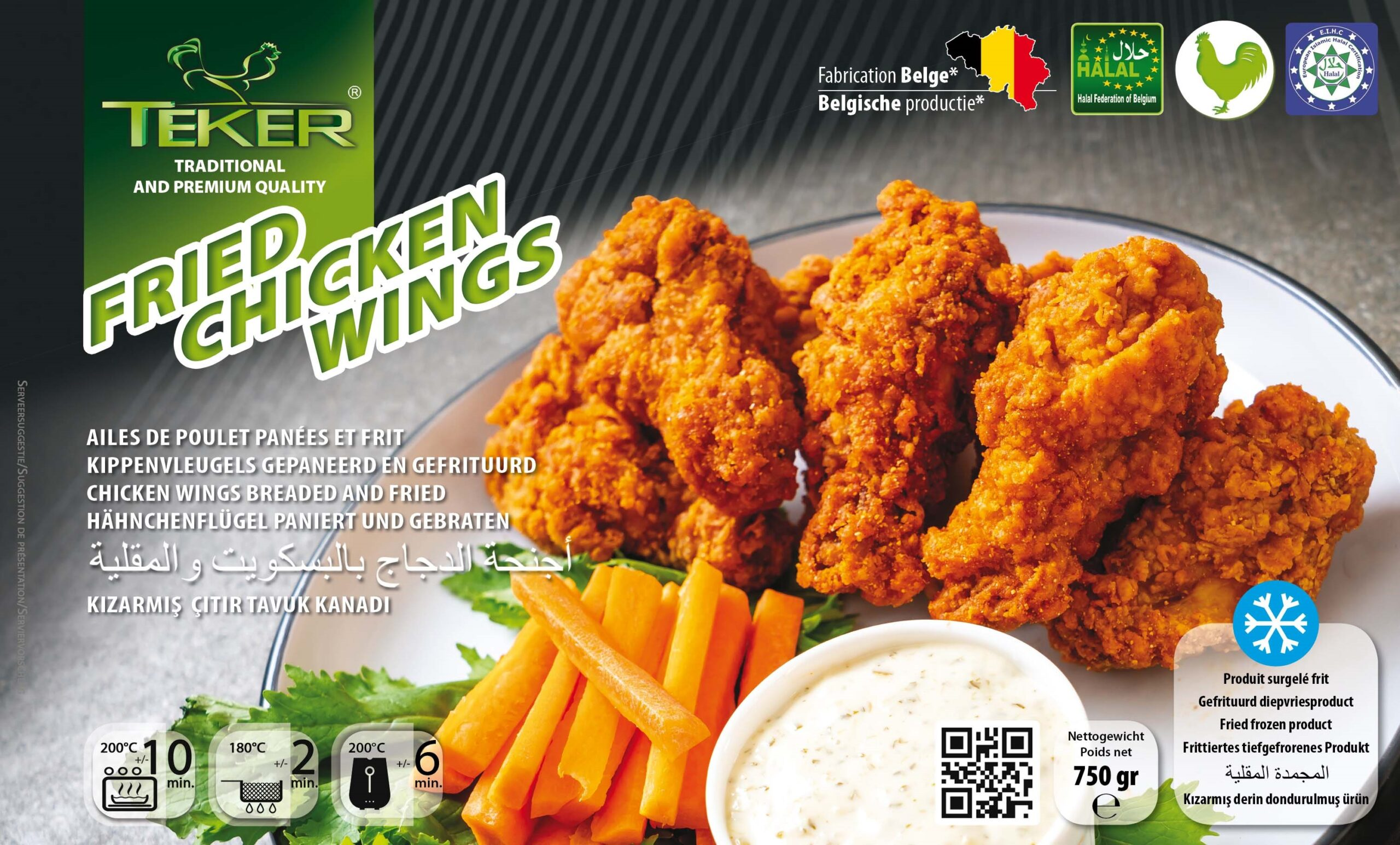 TEKER FRIED CHICKEN WINGS 750GR VOORAANZICHT